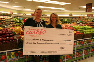 Women hold a big check