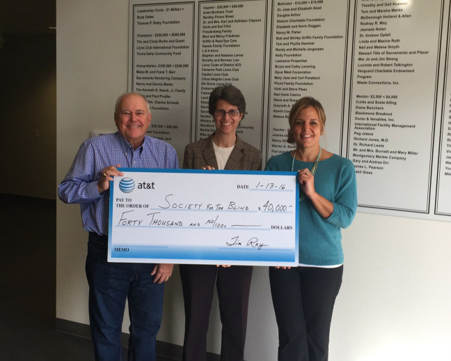 Society for the Blind receives check from AT&T