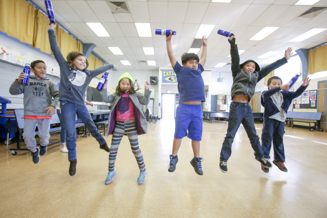 Students at Taylor Street Elementary School in Sacramento celebrate their new water bottles and installation of a hydration station