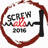 Screw ALS logo with black corkscrew and wine colored circle